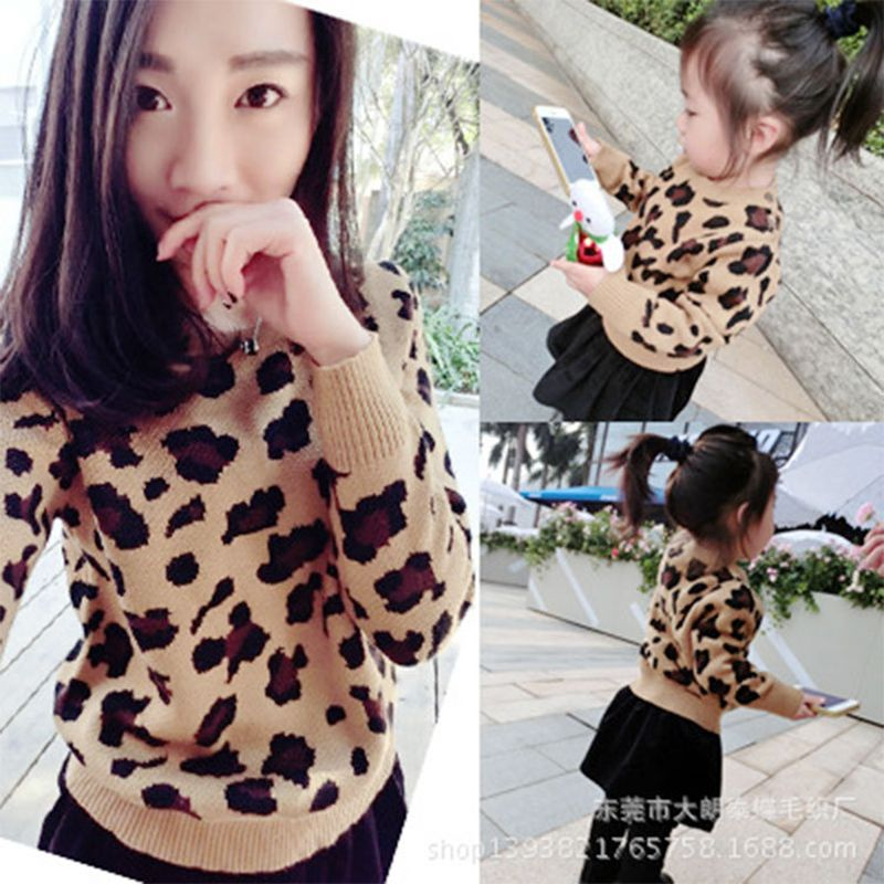 2017 baby boy girl sweaters women cardigan pullover leopard family look matching mother and daughter clothes outfits