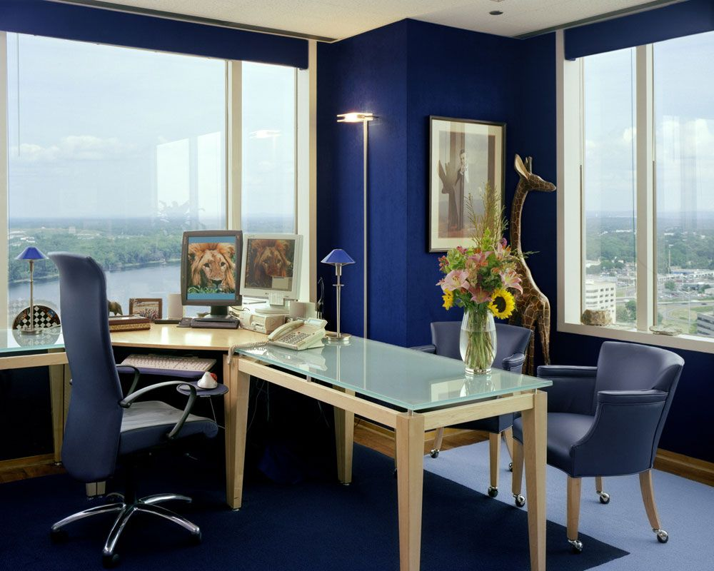 Admirable Small Home Office Design With Blue Color Themed