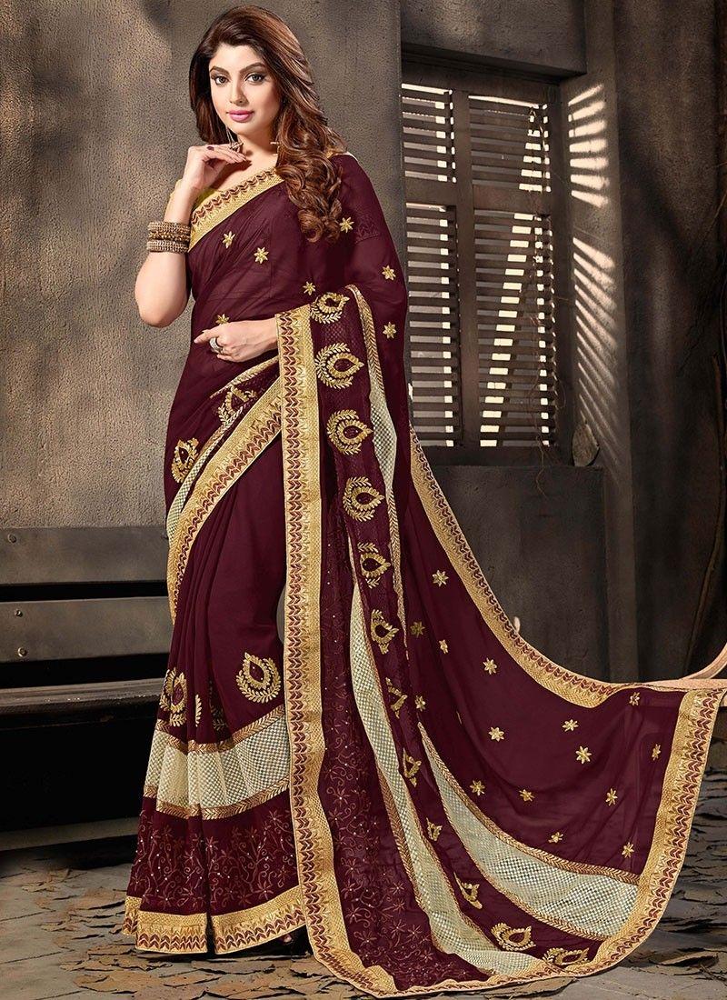 c616c03a896 Shop Online Brown Georgette  DesignerSaree