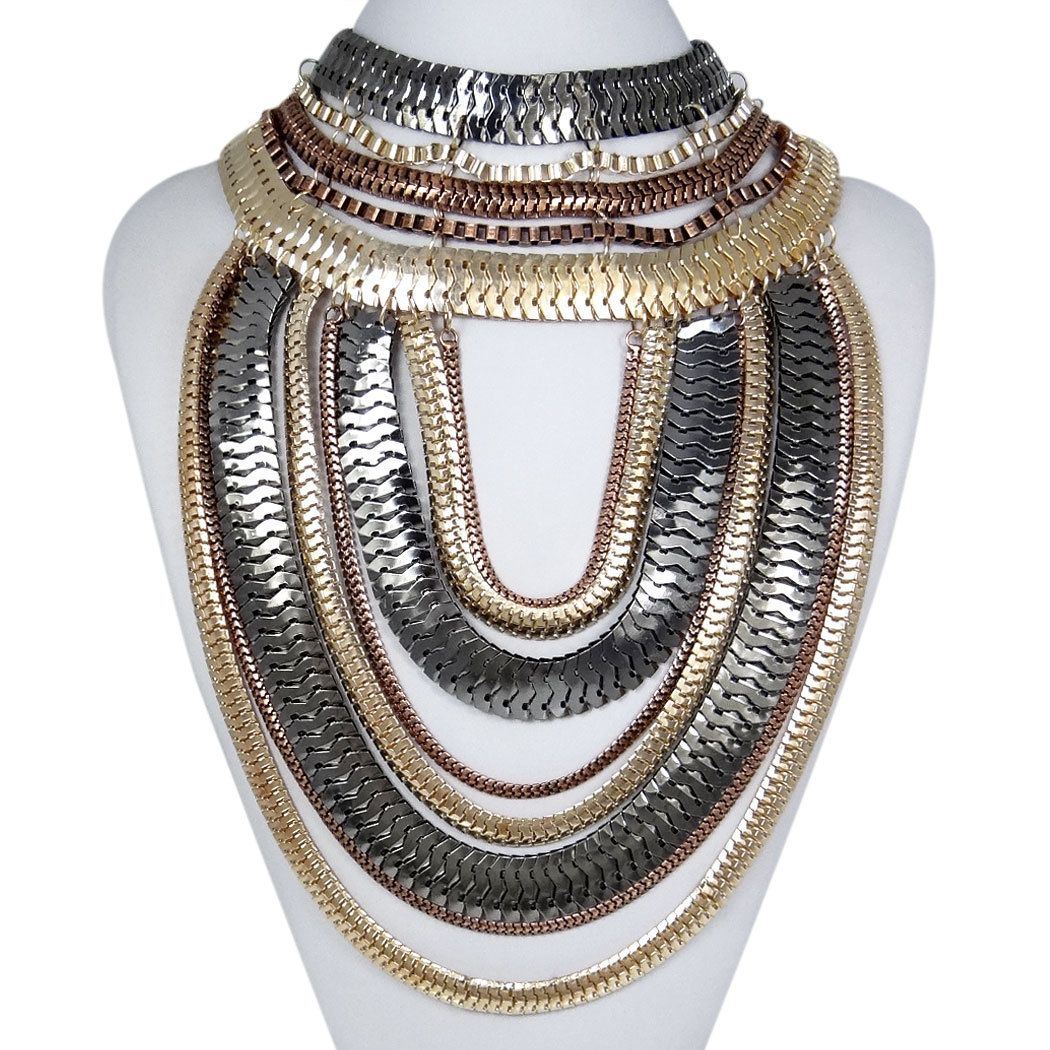 Art Deco Style Statement Necklace Mixed Chain by CoCoJewelry4u, $25.99