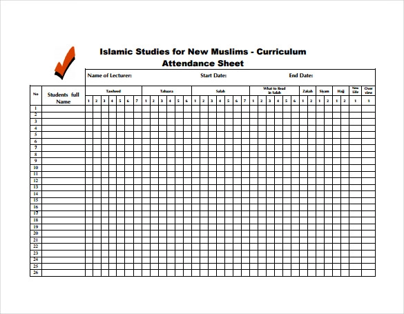 19 Free Attendance Sheet Templates Printable Word Excel