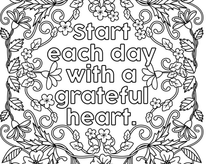 Start Each Day With A Grateful Heart Adult Coloring Pages Two