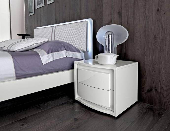 ESF Dama Bianca Glossy White Leather King Bedroom Set 3 Modern Made - Italian Bedroom Sets
