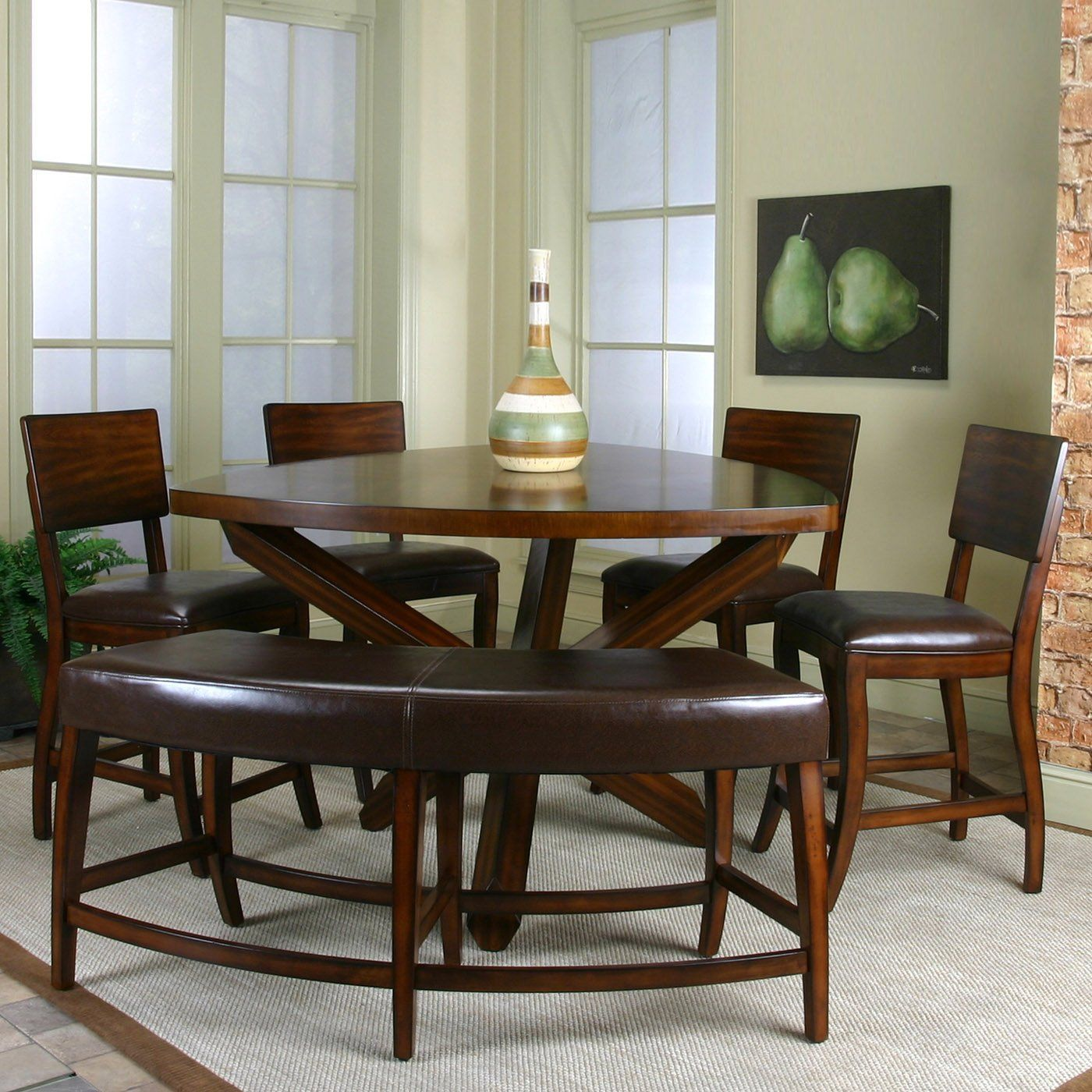 Kitchen table with bench seating and chairs  Kitchen table idea    I want a bench seat but I also like that