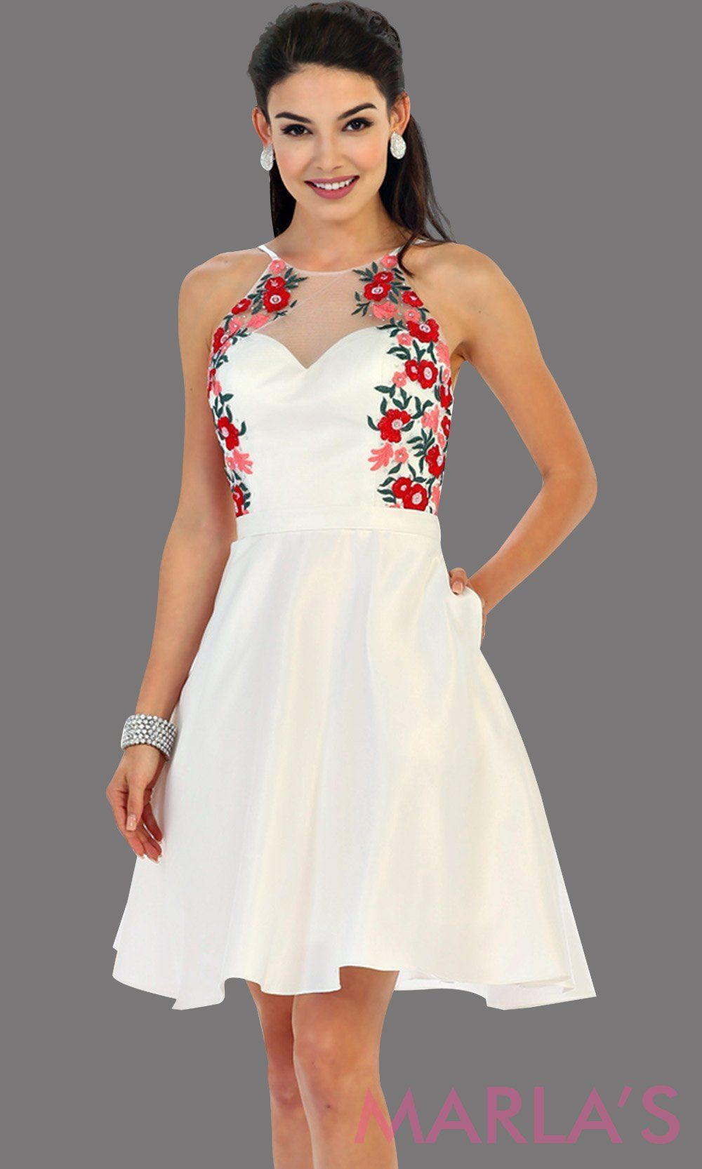 4e4fee27f84 1446-Short high neck white grade 8 graduation dress with floral embroidery.  This dress features pockets. Perfect white short prom dress