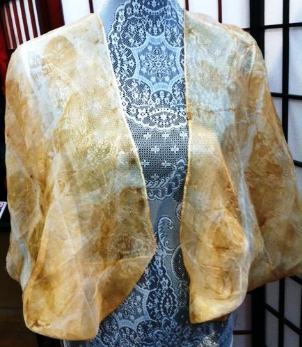 Eco printed with onion skins and eucalyptus leaves.  Silk organza.  Dreamweaving Designs
