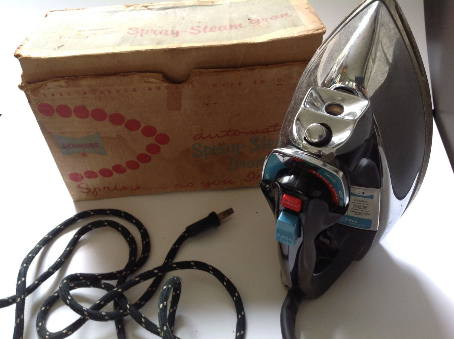 kenmore iron. vintage 50s sears roebuck kenmore automatic spray steam iron in original box by hannahandhersisters on etsy