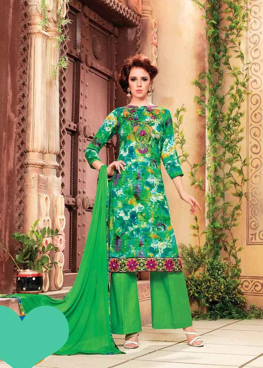 a3888b4039 Gorgeous Green Color Cotton Daily Wear Salwar Kameez in 2019 | Daily ...