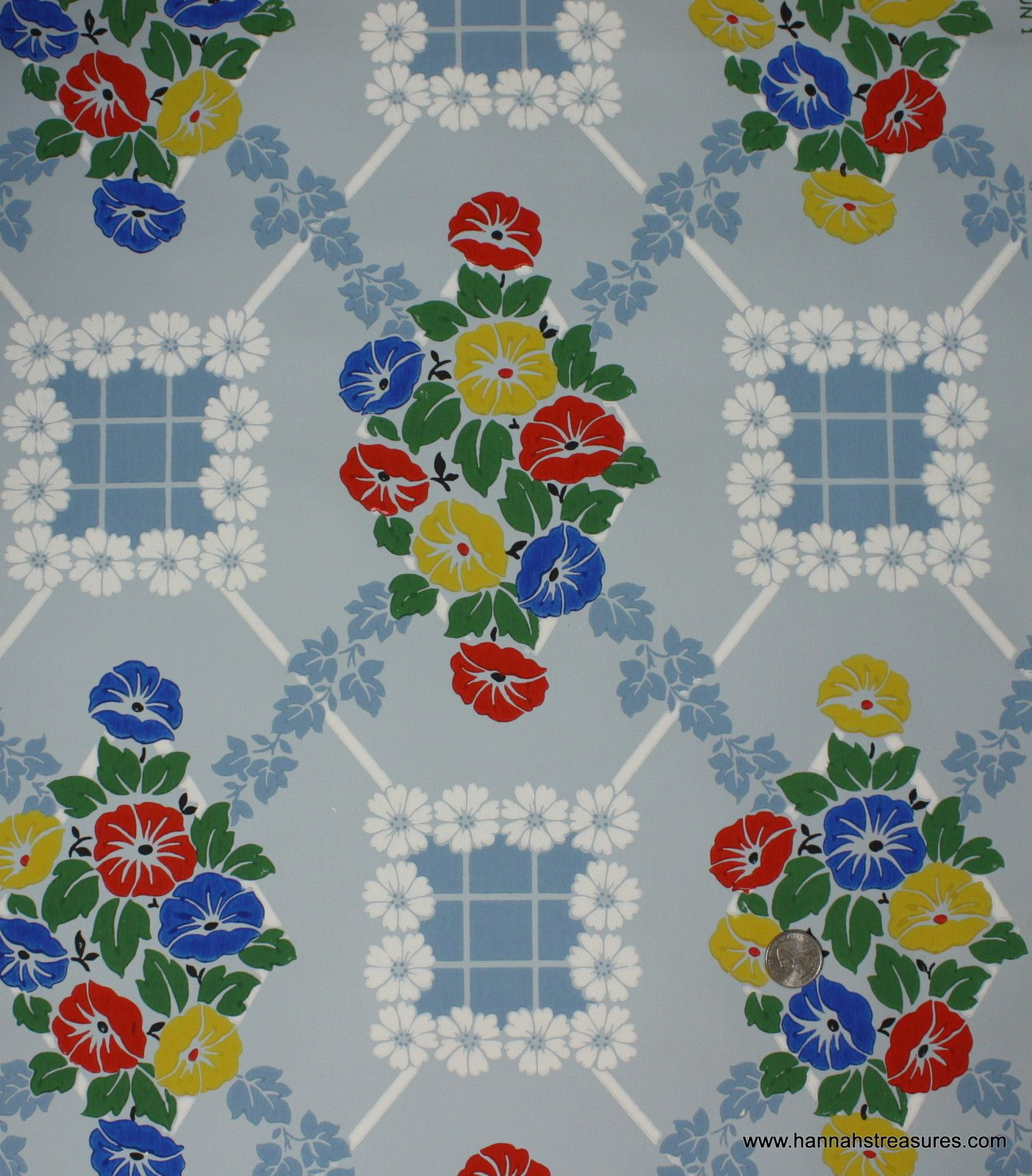 Old 1940\'s Vintage Wallpaper Brightly Colored Kitchen floral Red ...