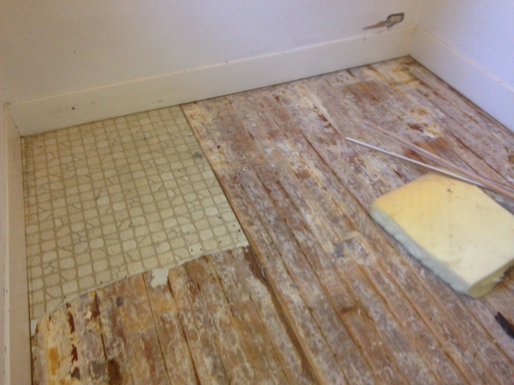 Much of the linoleum is coming up with little effort!