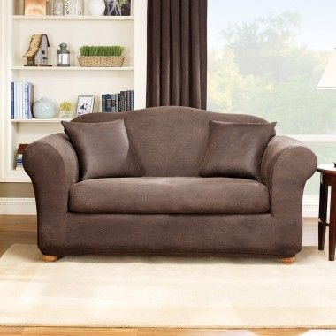 Sure Fit Stretch Leather Two Piece Sofa Slipcover in Brown (Box Cushion) - 171327270U