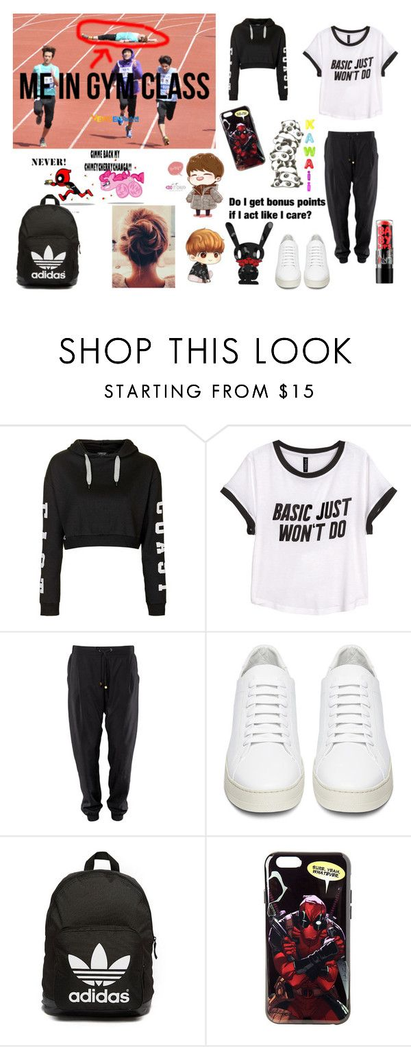 """Gym Class Fail"" by takemetothecookies ❤ liked on Polyvore featuring Topshop, H&M, Off-White, adidas Originals and Maybelline"
