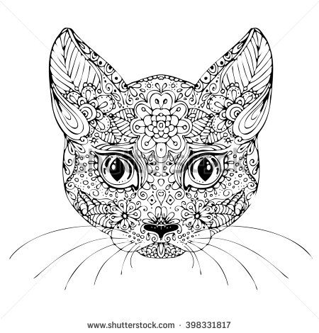 Image Result For Cat Face Colouring Pages Cat Sketch How To Draw Hands Tattoo Posters