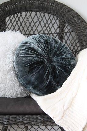 Gray velvet pillow