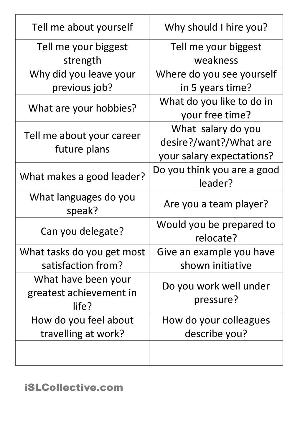 Worksheets Job Interview Worksheet job interview cards english pinterest interviews cards