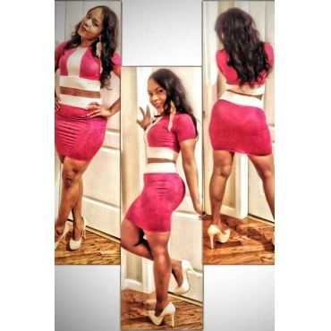 USD8.49Fashion O Neck Short Sleeve Sheath Pink Polyester Mini Dress