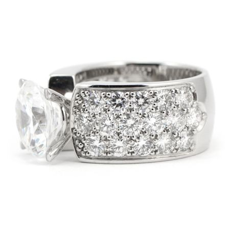 Pave Diamond Engagement Ring Wide Band Wixon Jewelers