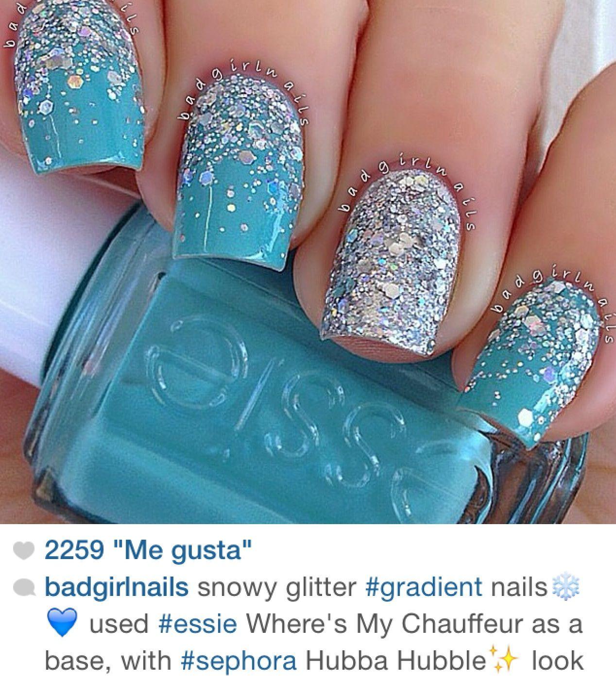 uñas turquesa y glitter | Manicure | Pinterest | Turquesa, Diseños ...