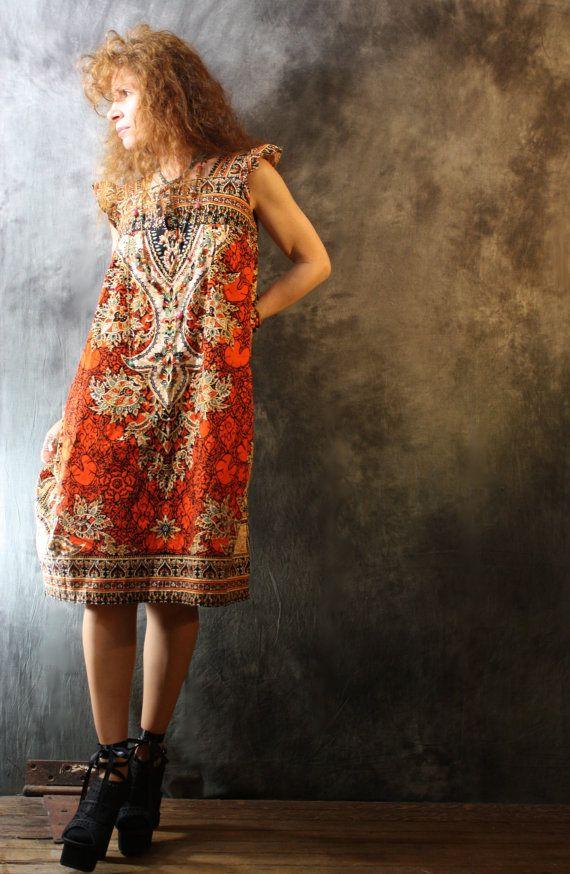 vintage 1960s 1980s bohemian hippie tribal sun dress