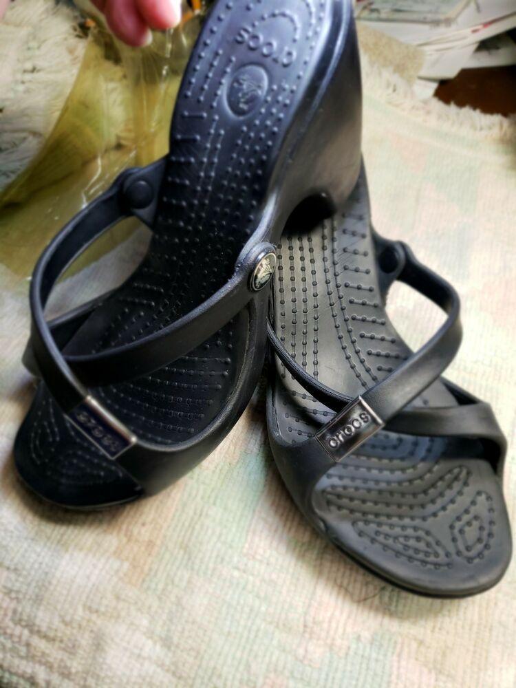 Sandals Slip 8 Women's On Crocs Heels Size Wedge W Black Platform CtsQrhdx