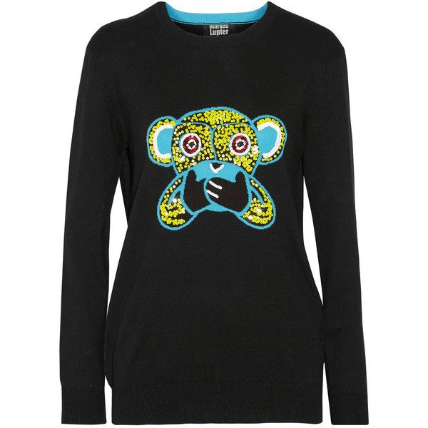 Markus Lupfer Speak No Evil Monkey sequined cotton sweater (685 BRL) ❤ liked on Polyvore featuring tops, sweaters, black, cotton sweater, markus lupfer sweater, sequin sweater, markus lupfer top and markus lupfer