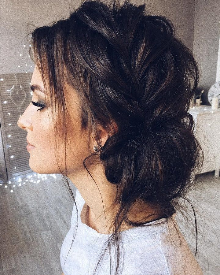 Wedding Hair Loose Up Style: Beautiful Updo With Side Braid Wedding Hairstyle For
