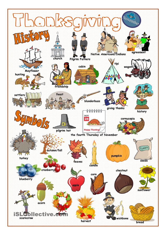 Thanksgiving Pictionary | English | Pinterest | Thanksgiving ...