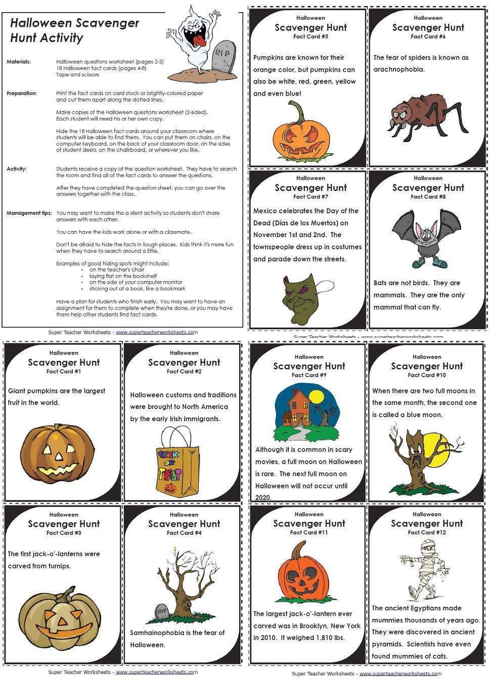 Students will love this Halloween scavenger hunt and learn new ...