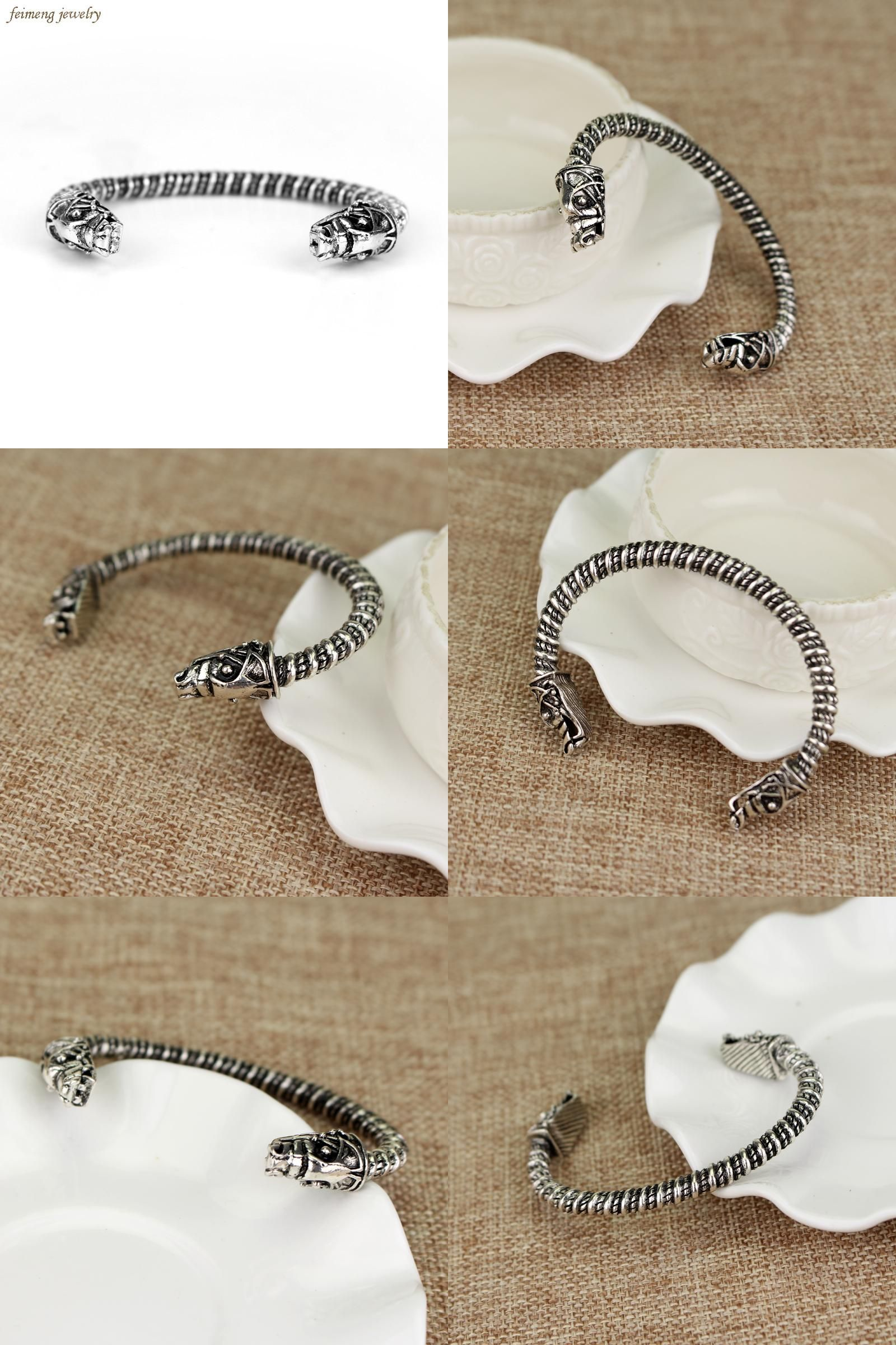 Visit to buy free shipping new design bracelet two headed wolf