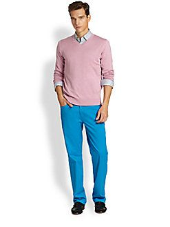 Saks Fifth Avenue Collection - Silk/Cashmere/Cotton V-Neck Sweater