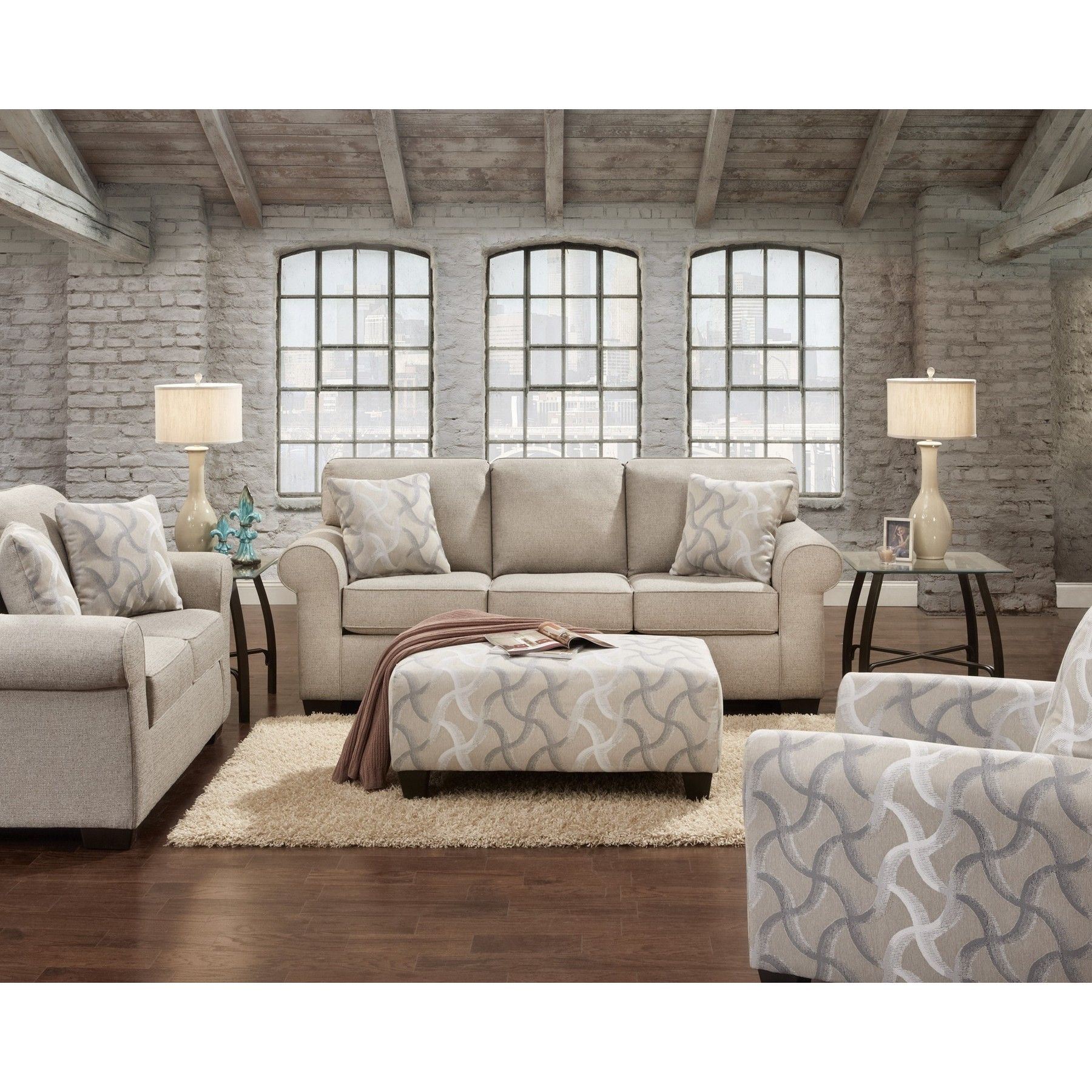 Sofa trendz clarissa 3 piece sofa set clarissa 3 pc sofa for Brown taupe living room