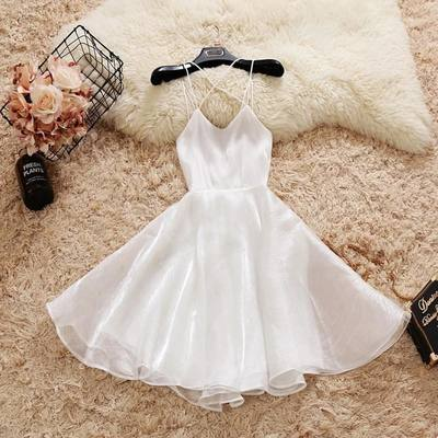 Photo of white sleeveless v-neck homecoming dress,backless racer-back chiffon school event dress,SB0165 from Sweet Baby
