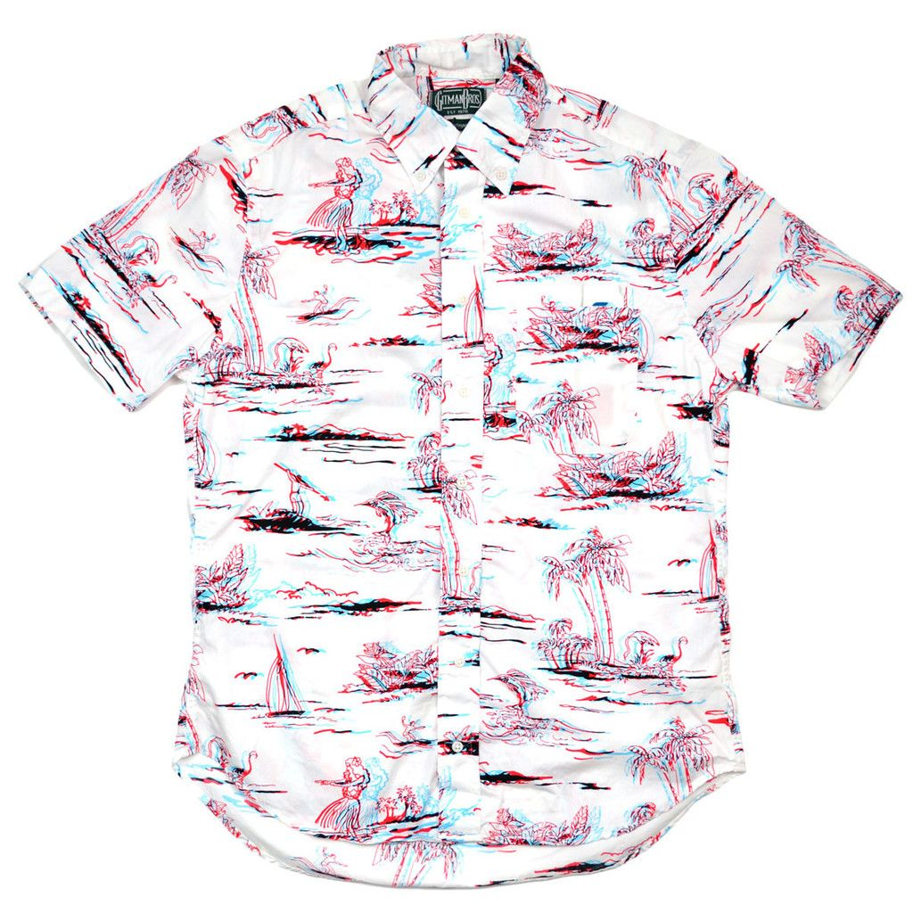 9d5dc7277ace45 Gitman Vintage - 3D Print Short-Sleeve Shirt - White   Red   Blue ...