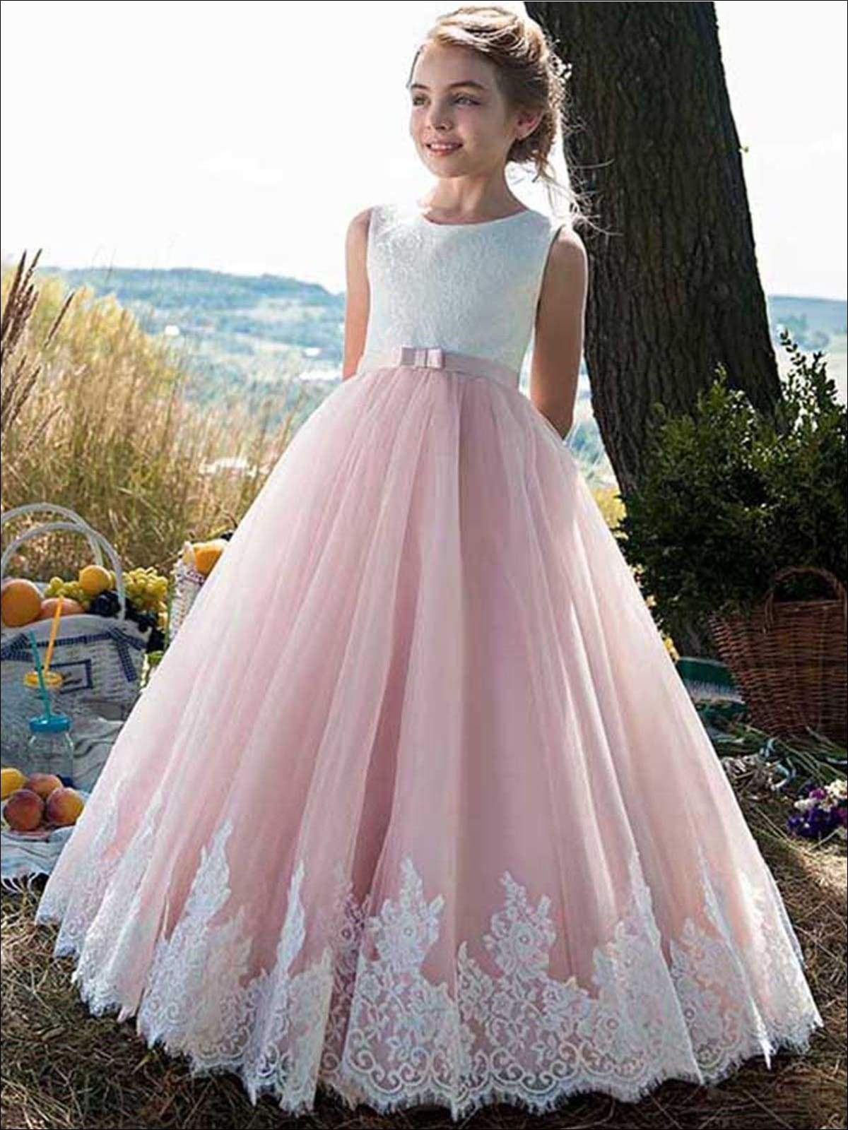 Girls Lace White And Pink Princess Gown Flower Girl Dresses Tulle White Flower Girl Dresses Pink Flower Girl Dresses [ 1600 x 1200 Pixel ]