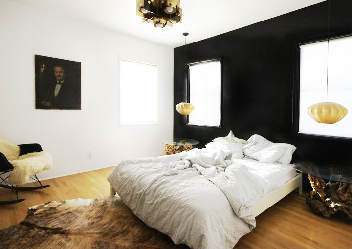 bedroom in black and white