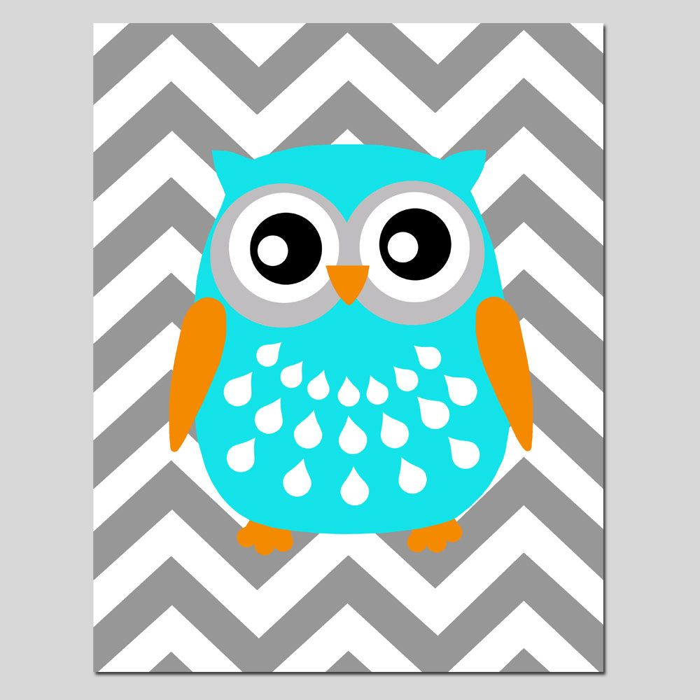 SALE Chevron Owl 11x14 Print Kids Wall Art by