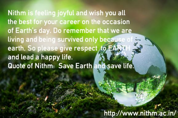 Quote of NITHM: Save Earth and save life #NITHM #Earth #SaveEarth #savelife #earthday