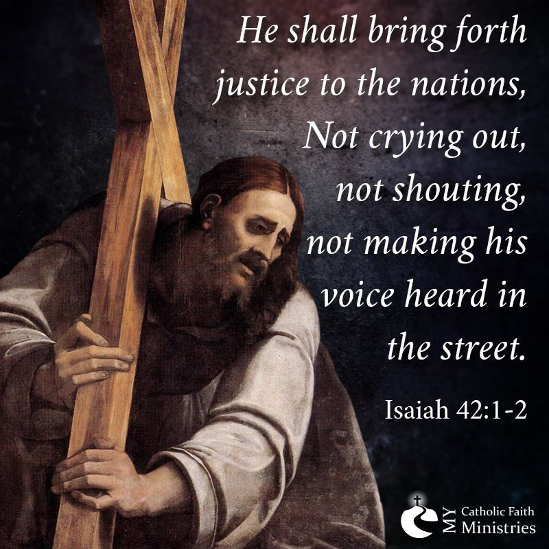 Jesus carries the Cross. From mycatholicfaithministries.co