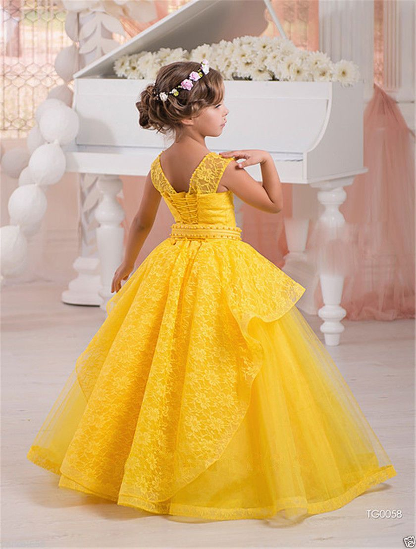 Yellow Pink Flower Girl Dress Party Prom Formal Ball Gowns Lace Up Straps  Custom 8d3f2633567e