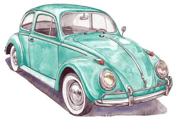 Items similar to Volkswagen archival art print, original watercolor painting printed on watercolor paper, vw bug, classic car, wall decor, fineart print on Etsy