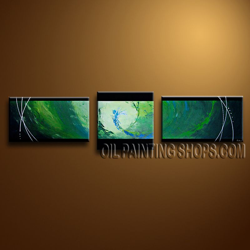 Stunning Modern Abstract Painting Oil Painting On Canvas Panels Gallery Stretched Abstract. This 3 panels canvas wall art is hand painted by Bo Yi Art Studio, instock - $143. To see more, visit OilPaintingShops.com