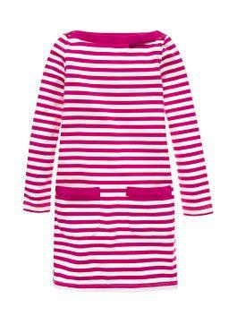 Girls' Devon Dress, Sweetheart Pink/ Fresh White