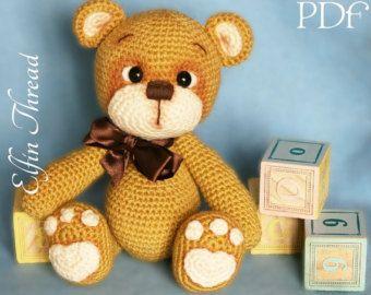 Amigurumi Oso Pijama : Hilo de elfin teddy bear amigurumi pdf patrón oso de etsy