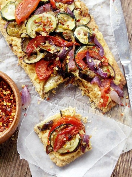 Hummus and roasted veggie tart