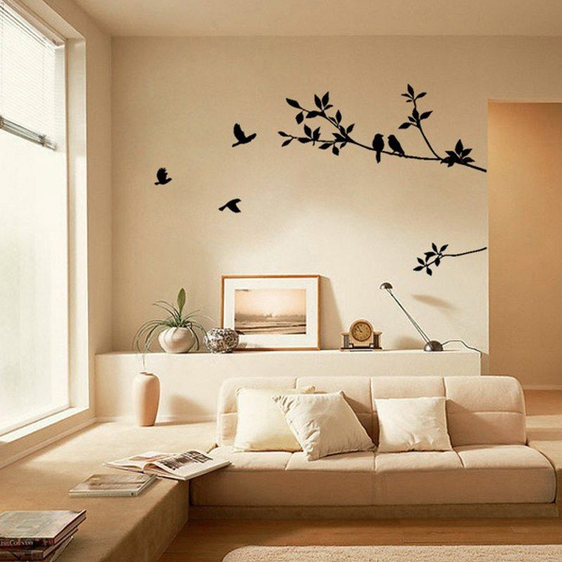 White Black Birds On The Tree Branch Wall Sticker Living Room Wall Art Decals