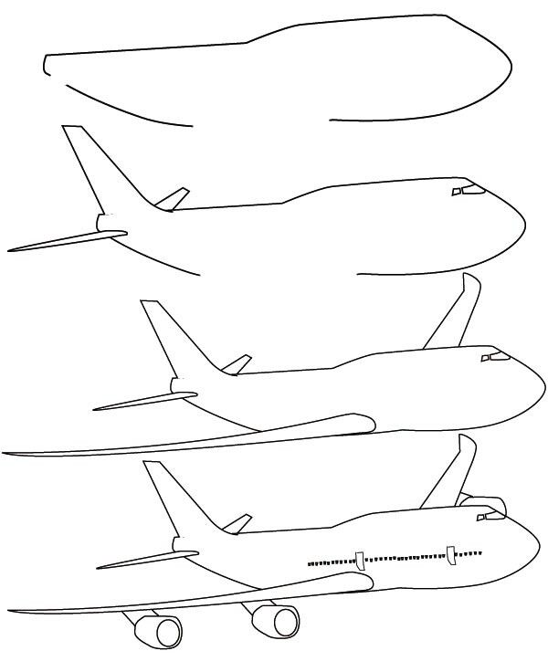 Drawing plane learn how to draw a plane with simple step by step instructions