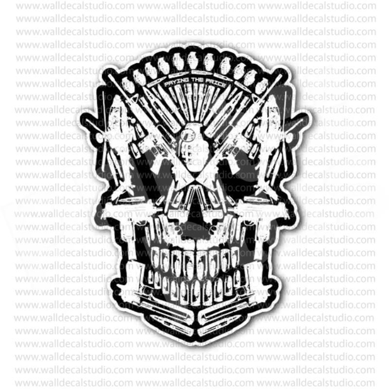 Weapon armory skull sticker