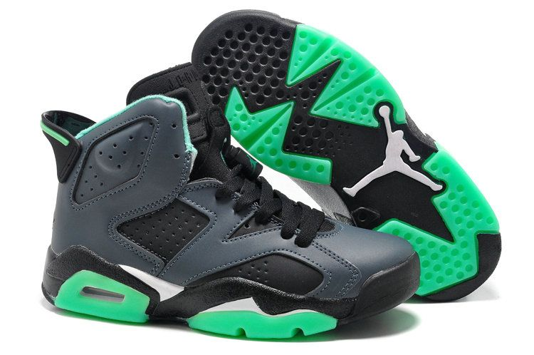 sports shoes 3da29 86dc0 Youth Big Boys Air Jordan 6 Green Glow Dark Grey