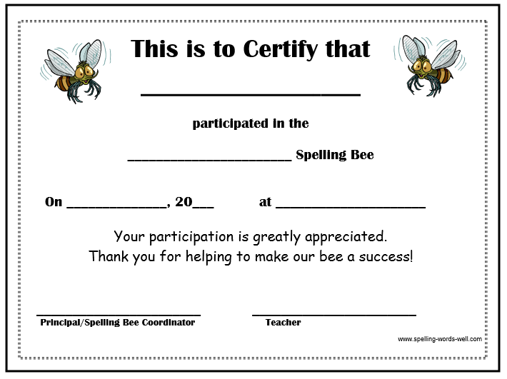Free Spelling Bee Certificates | Different clip Arts | Pinterest ...