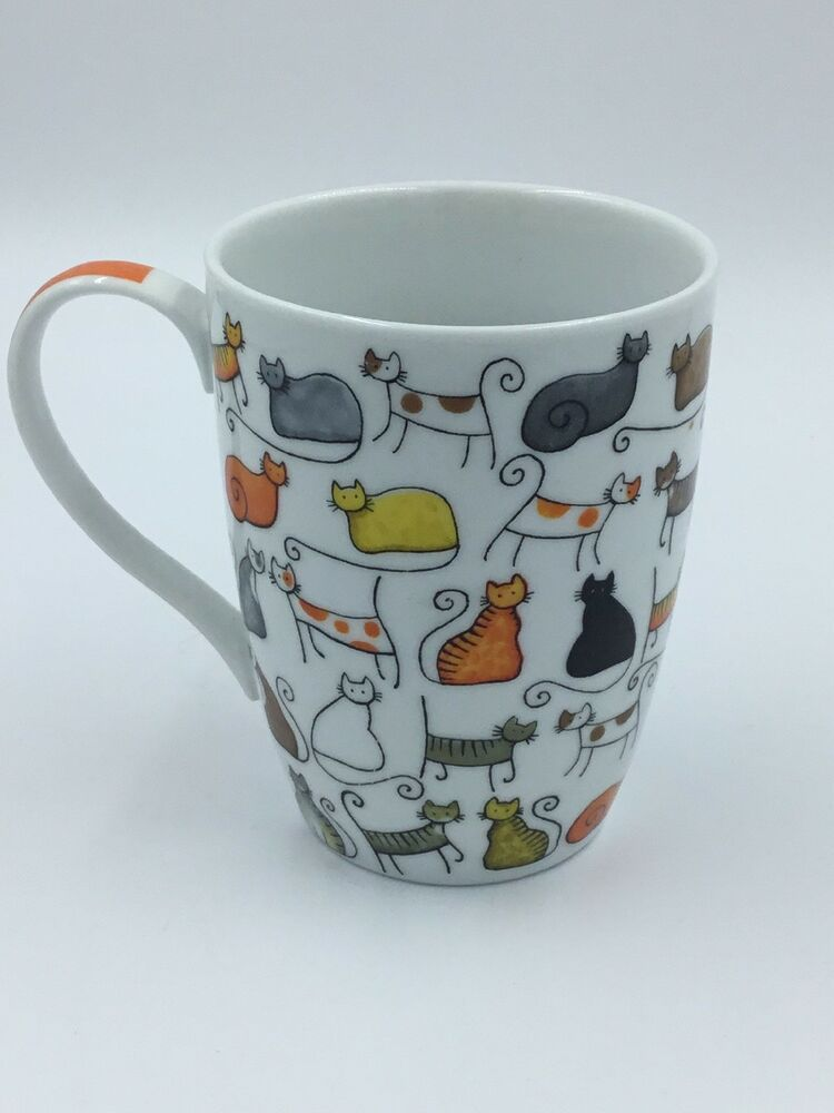 9d4f952353d Cha Cult Coffee Tea Mug Cup Multicolored Cats Cat Lady NWOT ...